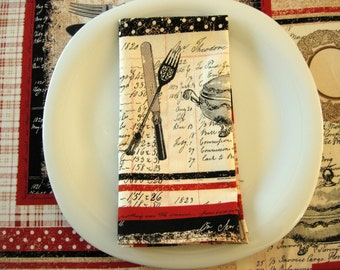 French Bistro Napkins (4 or 6) with Vintage Cookware and Utensils in Red, Black and Cream, Michael Miller Bon Appetit Grande Cafe, Cotton