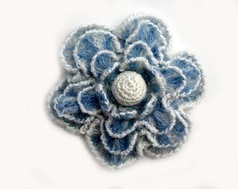 Crochet flower pin brooch, blue