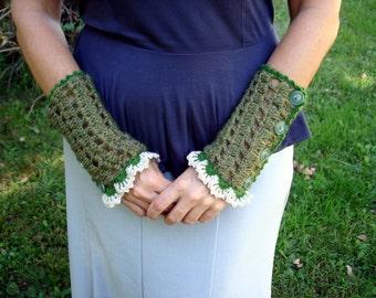Fingerless gloves, mittens, arm warmers, crochet, green.