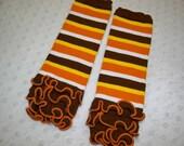 Thanksgiving Fall Baby Leg Warmers - Orange, Yellow Brown Baby Fall - Baby Girl Thanksgiving Ruffle Leg Warmers