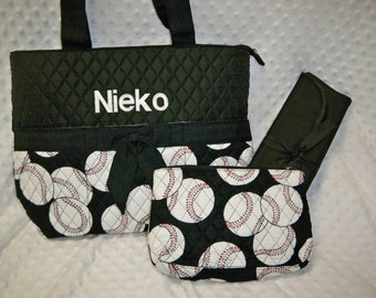 PERSONALIZED 3 Piece Diaper Bag Set with Name - Baby Boy or Girl Black White Baseball Personalized Diaper Bag, Zipper Pouch, Changing Pad