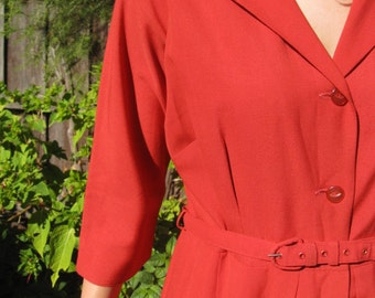 Soft lipstick red 1950s shirt waist dress - Sz M