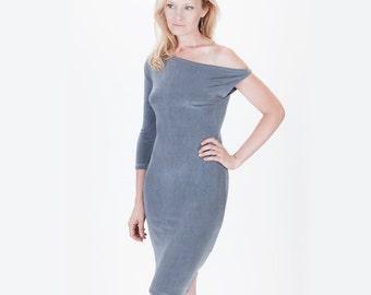Powder Blue Asymmetrical Off the Shoulder Slinky Pencil Dress