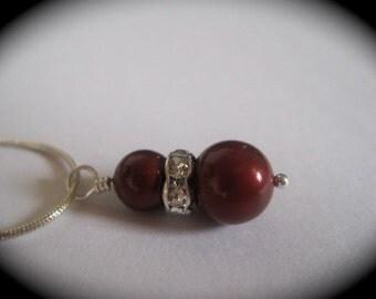 Elsa Bridal Burgandy Pearl Sterling Silver Necklace