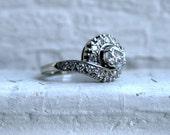 Vintage 14K White Gold Diamond Engagement Ring -1.22ct.