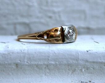 Vintage Filigree 14K Yellow Gold Diamond Engagement Ring - 0.18ct.