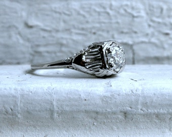 Vintage 14K White Gold Diamond Solitaire Engagement Ring with GIA Certificate.