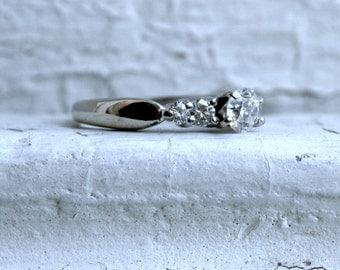 Vintage 14K White Gold Diamond Engagement Ring - 0.73ct.