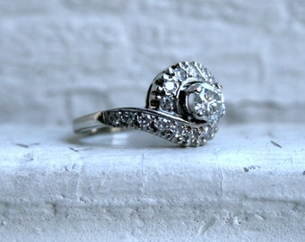 Vintage 14K White Gold Diamond Engagement Ring -1.22ct.