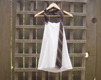 Funky White Halter Top/ Eco Backless Tie Shirt/ Summer Festival Tops Gear Beach Cover Up Upcycled S/M