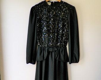 Vintage 70s evening dress / 1970s dress /  black sequin dress / party dress / small