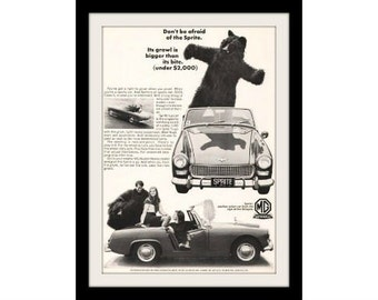 1967 AUSTIN HEALEY Sprite & Bear Car Ad, Vintage Advertisement Print