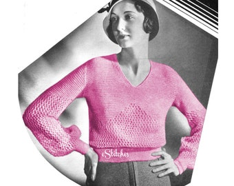 1930s Sweater Sheer Lace Blouse or Top - Knit pattern PDF 5353