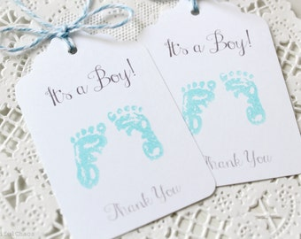 25 Blue Footprint It's a Boy Thank You Hang Tag, Gift Tag, Favor Tag Die cuts 2.75X1.75 inch - Baby Shower Gift Wrapping