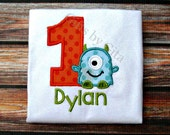 Embroidered monster birthday shirt,  numbers 1-9, customizable with name and fabric choice