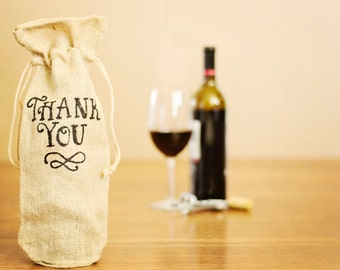 Wine Gift Bag / Burlap Wine Bag / Thank You Gift Bag / Hand Painted / Thank You