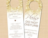 White Gold Sparkles Text-Editable Door Hangers: Compatible with Avery® 16150 Templates - Printable Instant Download