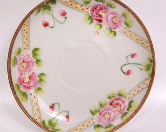 Vintage Relief Rose Saucer Japan TT Hand Painted Porcelain Raised Paint