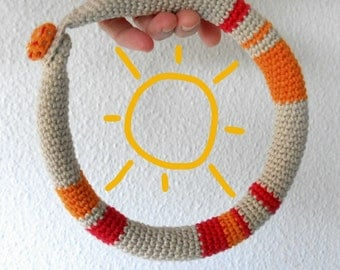 warm colors crochet necklace , stripped crochet collar, Mandinga  necklace, woman accessories, gifts for woman