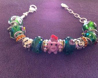 Pink pig European bracelet