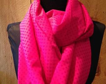 Infinity Scarf - Lightweight Hot Pink Dot