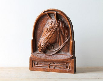 Vintage horse business card holder / mid century retro rustic office desk decor / equestrian gift idea / horse home decor / brown Syroco