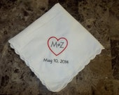 Personalized Handkerchief Embroidered For Bride or Groom