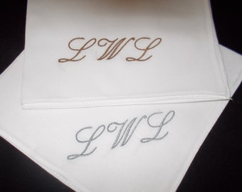 Wedding handkerchief Monogrammed SINGLE embroidered