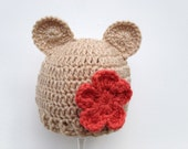 Brown Crochet Baby Bear Beanie with Securely Attached Crochet Flower, crochet baby hats, baby girl hat, infant crochet hat, baby
