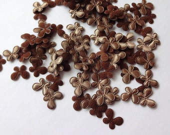 30 Mini Brown Butterflies  Padded Appliques Embellishment
