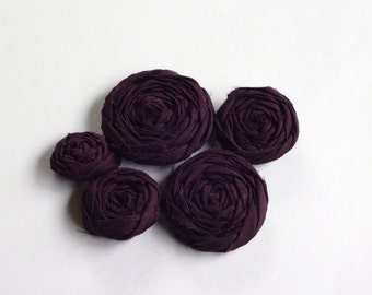 Egg Plant Purple Fabric Rosettes Embellishment