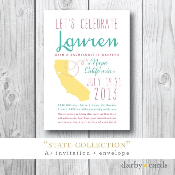 States Collection | Lauren's Bachelorette Weekend | Printed or Printable Design by Darby Cards