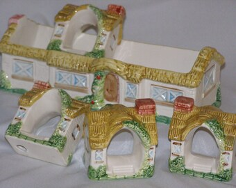 Vintage Takahashi Ceramic Country Cottage Napkin (4) Rings Holder Set - Made In Japan - Hand Painted