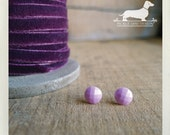 Grape. Post Earrings -- (Vintage-Style, Purple, Lavender, Violet, Shabby Chic, Small Stud, Round, Modern, Faceted, Bridesmaid Gift Under 10)
