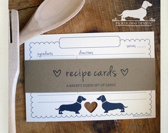 Mini Doxie Heart. A Baker's Dozen (Qty 13) Set of 4x6 Recipe Cards -- (Dachshund, Wedding Gift, Bridal Shower Favor, Choose Paper Color)