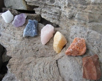 Large Chunky Chakra Rough Natural Stone Kit Set of 7