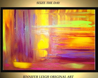 "Original Large Abstract Painting Modern Acrylic Oil Painting Canvas Art Yellow Purple Green Seize the Day  36x24"" Textured  Wall Art J.LEIGH"
