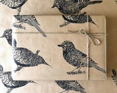 Jay and  Large Wren Bird Lino Printed Gift Wrap - One Sheet 50 x 70cms