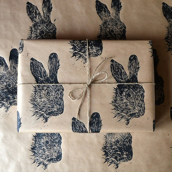 Rabbit Hare Hand Printed Wrapping Paper - Three Sheets