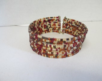 Vintage memory 10 layer beaded bracelet cuff,  used no markings