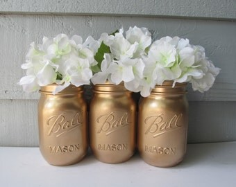 Painted Ball Mason Jars- Gold-Metalic Set of 3-Flower Vases, Rustic Wedding, Centerpieces