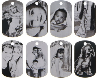 Custom Made LASER Etched Black Tone Aluminum Dog Tag Picture Pendant Ball Chain Necklace
