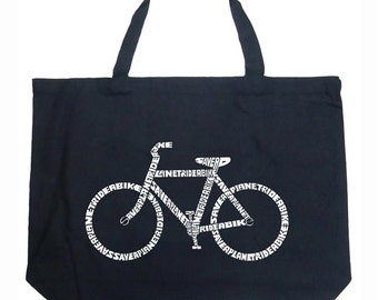 Large Tote Bag - Created using the word Save a Planet, Ride a Bike