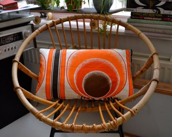Scatter-Cushion cover made from retro fabric orange/brown/white