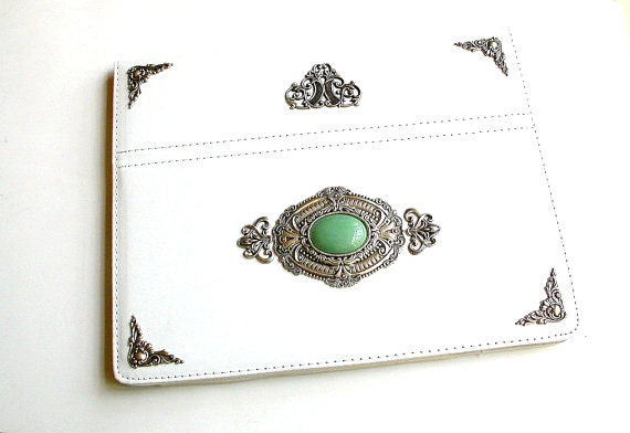 White Victorian Case for iPad 4 iPad 3 iPad 2 - Leatherette New iPad Stand Case with  Green Aventurine Gemstone Cabochon