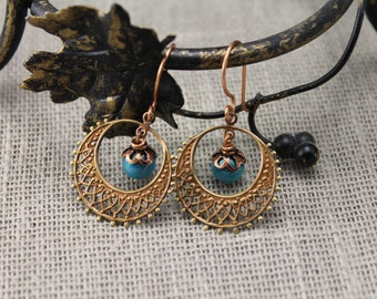 Blue and copper earrings, turquoise blue, glowing blue earrings, gifts to her, dangle earrings, copper