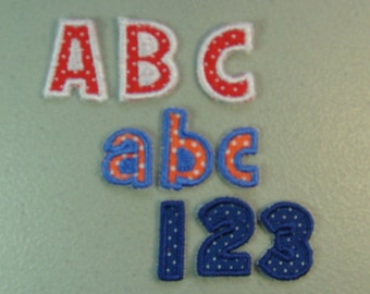 """Tiny 1"""" tall Font or  Alphabet Letter iron on or sew on applique"""