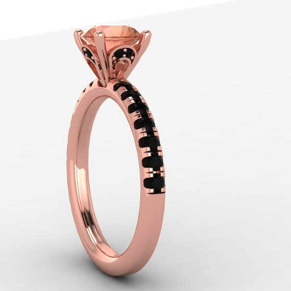Items similar to rose gold black diamond engagement ring black diamond and mo