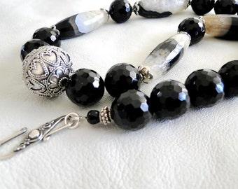 Black onyx, quartz, sterling silver, handmade, necklace, OOAK