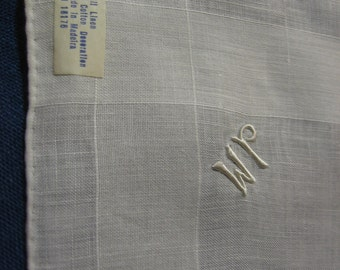 Mens Handkerchief JM Monogram Handmade in Madeira Embroidered Initials Vintage Pure Linen Hankie for the Groom with the Original Linen Label